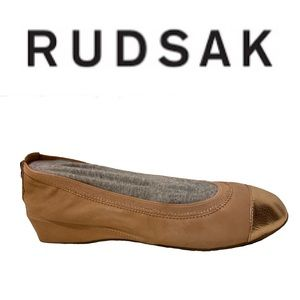 RUDSAK leather blush and rose gold ballet flats